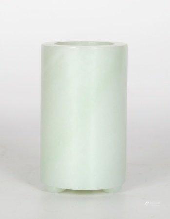 Chinese Carved Jade Cylindrical Brush Holder