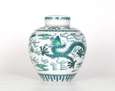 Chinese Green Glazed Dragon Jar