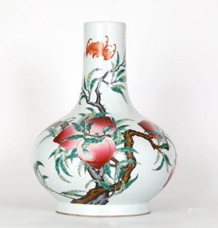 Chinese Famille Rose Peach Bottle Vase