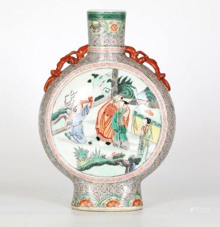 Chinese Famille Verte Moon Flask Vase