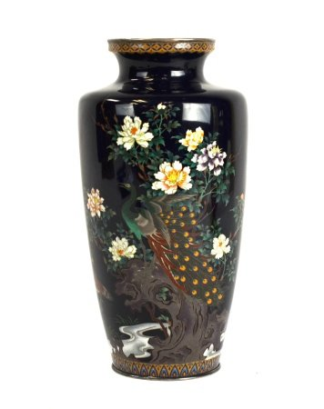Japanese Silver Cloisonne  Enamel Vase