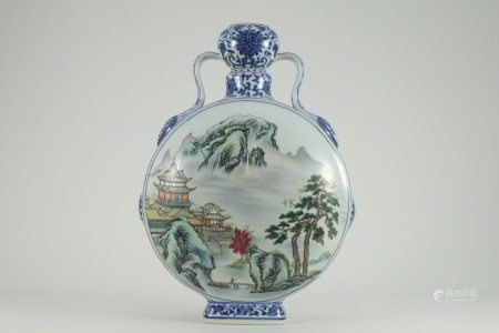 CHINESE BLUE & WHITE  FAMILLE ROSE MOONFLASK, QIANLONG MARK