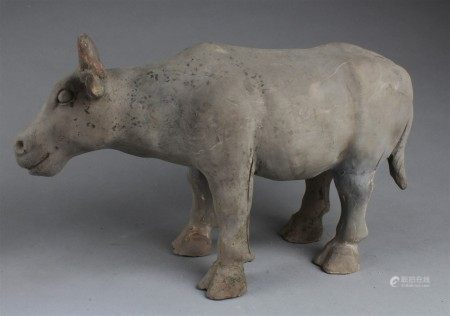 Chinese Pottery Cow Statue