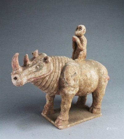 Chinese Pottery Rhino Figurine