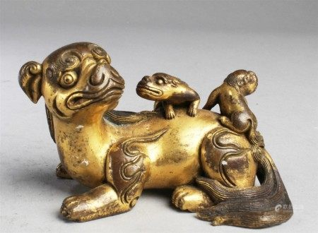 Chinese Gilt Bronze Mythical Beast Statue
