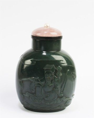 A Spinach Jade Snuff Bottle, early 20th C
