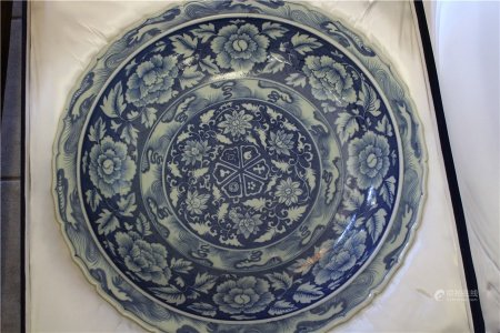 A Large Blue and White Plate With Box