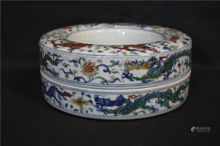A Blue and White Wucai Case, Late Qing/Republic of