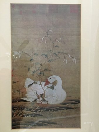 """A Chinese Painting """"Goose"""" With Frame"""