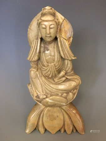 A Shoushan Carved Figure of Guanyin, Qing Dynasty