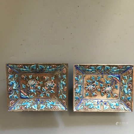 A Pair of Silver Enameled Saucers, Qing Dynasty