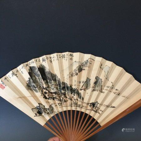 A Fan Painting, Pan Tian Shou Mark