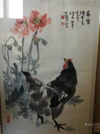 "A Chinese Painting ""Rooster"", Zhang Shi Jian Mark"