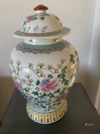A Famille-Rose Jiangjunguan Jar, Late Qing Dynasty