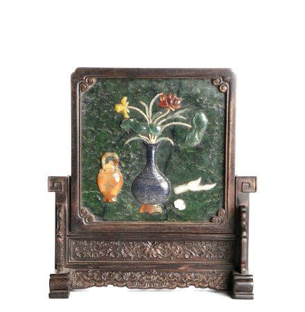 Chinese Woodcarving Screen Inlaid With Jade