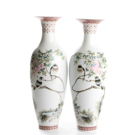 Chinese Pair Of Famille Rose Porcelain Bottles With Pattern Of Flower And Bird