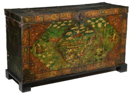 WOOD AND PAINTED LEATHER TIBETAN TRUNK ON STAND