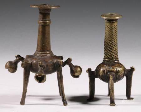 (2) ANCIENT LURISTAN BRONZE KOHL VESSELS, CIRCA 1000 BC