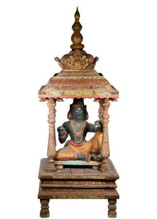 HOME STUPA FORM SHRINE WITH SCULPTURE, NEPAL, MID 20TH C.