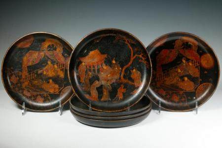 (6) JAPANESE LACQUERED WOODEN PLATES