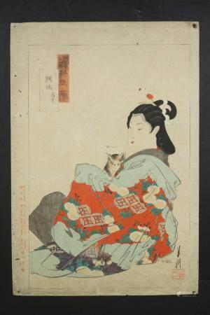 SCARCE JAPANESE MEIJI WOODBLOCK PRINT BY OGATA GEKKO (1859-1920)