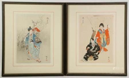 (2) FRAMED JAPANESE WOODBLOCK PRINTS