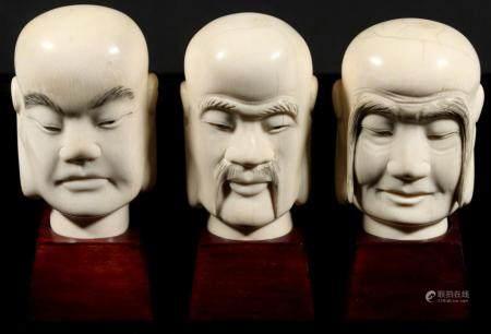 (3) CARVED JAPANESE OKIMONO HEADS OF BUDDHA