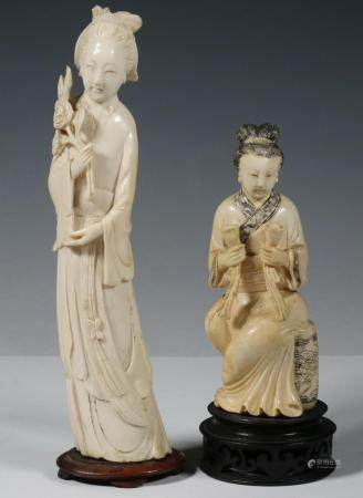 (2) CARVED JAPANESE OKIMONO OF GEISHA, 20TH C., DIFFERENT CARVERS