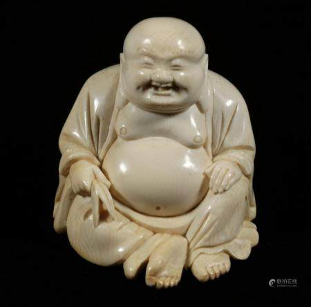 CARVED JAPANESE OKIMONO OF A LAUGHING BUDDHA, 20TH C.