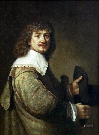 An Oil on Board Painting, after Rembrandt's self portrait
