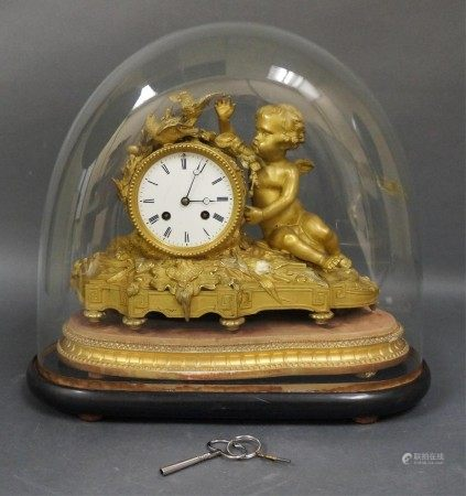 An Antique French Brass Mantle Clock