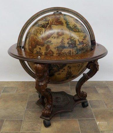An Italian Replica World Globe Bar