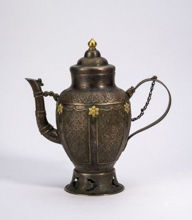 Chinese Silver Bamboo Spout Ewer