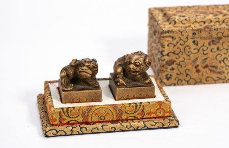 Chinese Lion Bronze Seal Pair with Box