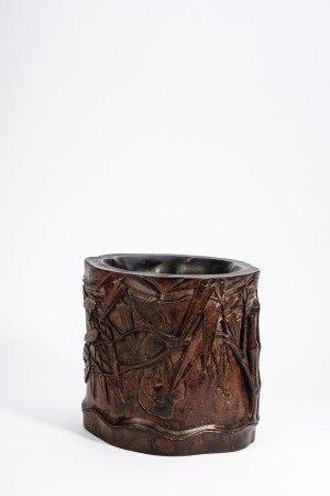 Chinese Zitan Bamboo Brush Pot