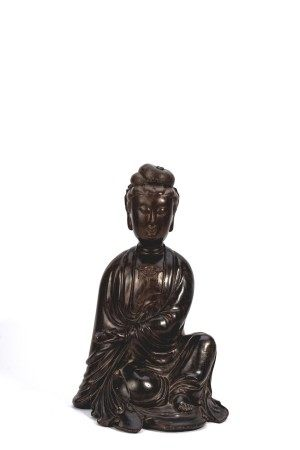 Chinese Rosewood Seated Guanyin Figure