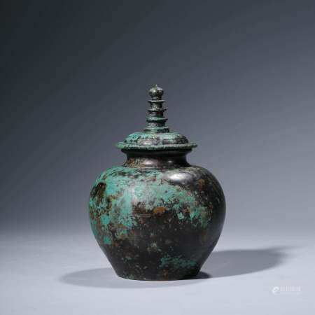 A CHINESE BRONZE JAR & COVER