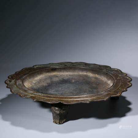 A CHINESE BRONZE FIRE BASIN