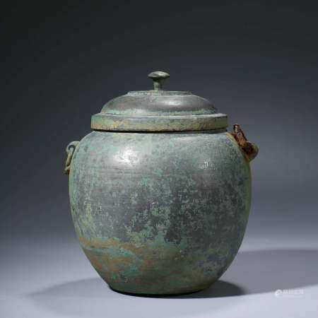 A CHINESE BRONZE ANIMAL HANDLED VESSEL WITH COVER