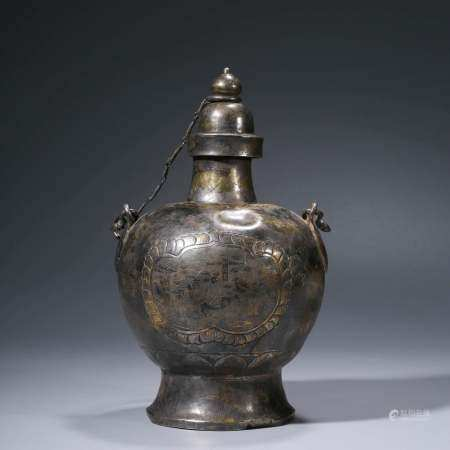 A CHINESE SILVER WINE VESSEL