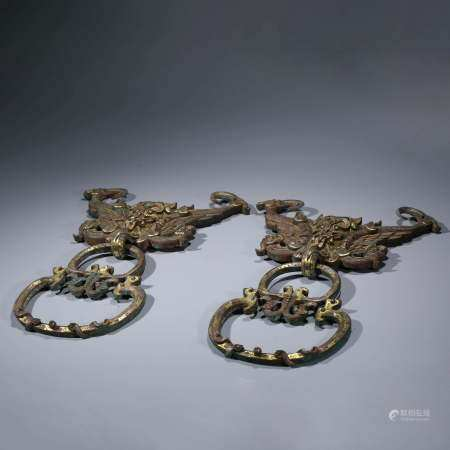 A PAIR OF CHINESE GILT-BRONZE GOLD & SILVER INLAID