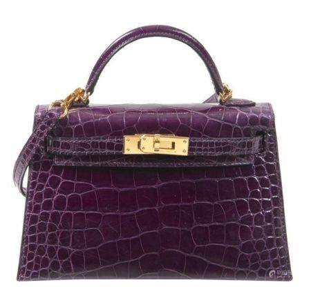 HERMÈS 2020  Sac Mini KELLY Sellier Alligator lisse Cassis (Alligator mississippiensis) II/B Ga