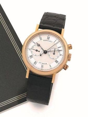 BREGUET  Ref. BR3280, n° 4818A Vers 1990  Chronographe bracelet en or jaune 18k (750)  Boîtier