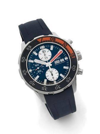 IWC  Aquatimer, ref. 3767, n° 3482753 Vers 2010  Chronographe bracelet de plongée en acier Boît