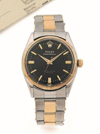ROLEX  Oyster Perpetual, ref. 6566, n° 198725 Vers 1956  Montre bracelet en acier et or 14k (58