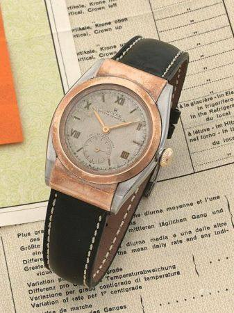 "ROLEX  Bubble Back ""Hooded Lugs"", ref. 3064, n° 380323 Vers 1946  Montre bracelet en or rose 18"
