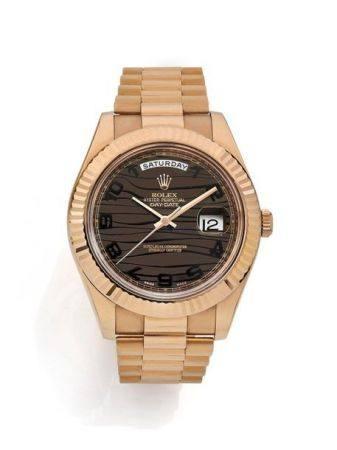 """ROLEX  Day Date """"Wave Dial', réf. 218235, n° V223271 Vers 2008  Montre bracelet en rose 18K (75"""