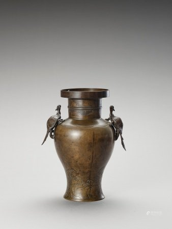 A BRONZE BALUSTER VASE WITH MINOGAME AND WAVES