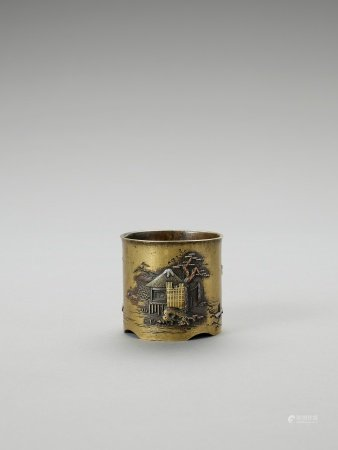 A SMALL SENTOKU VESSEL WITH SILVER AND COPPER INLAYS
