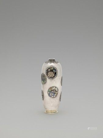 "A RARE AND RETICULATED SILVER CLOISONNÉ ""VASE WITHIN A VASE"" ATTRIBUTED TO HIRATSUKA MOHEI"